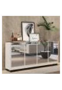 Aparador Buffet 4 Portas C/ Espelho E Pés Quadrados Vegas Multimóveis Branco/Preto