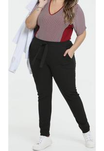 Calça Feminina Tiras Amarração Plus Size