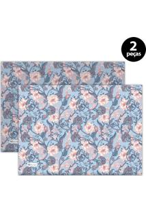 Jogo Americano Mdecore Floral 40X28 Cm Azul 2Pçs