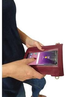 Bolsa Couro Clutch Topgrife Porta Celular Feminina - Feminino-Bordô