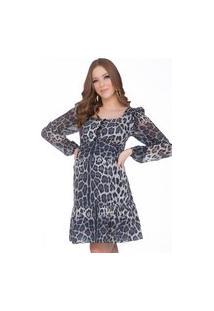 Vestido Amamentação Megadose Moda Gestante Curto Estampa Animal Print