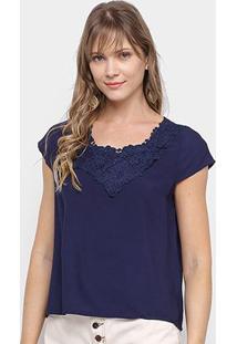 Blusa Edivi Com Guipir Feminina - Feminino-Azul
