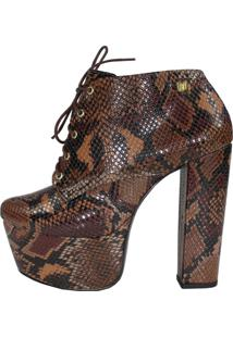 Ankle Boot Salto 15 Week Shoes Animal Print Serpente Marron Cano Curto - Tricae