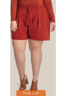 Shorts Clochard Plus Size Com Amarração Laranja