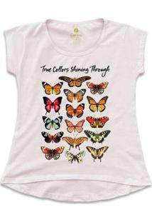 Camiseta Cool Tees Borboletas True Collors Feminina - Feminino-Rosa