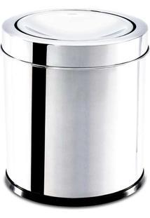Lixeira Inox C/ Tampa Basculante 15,5X17Cm - Brinox Inox
