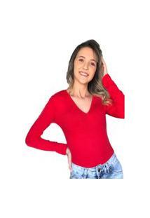 Body Manga Longa Vermelho