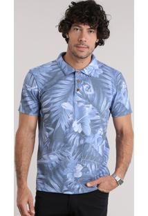 Polo Em Piquet Estampada Tropical Azul
