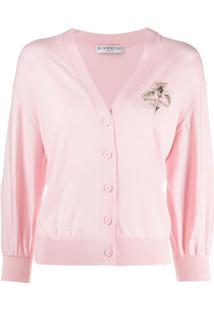 Givenchy Logo Embroidered Cardigan - Rosa