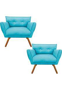 Kit 02 Poltrona Decorativa Anitta Suede Azul Tiffany Strass - D'Rossi
