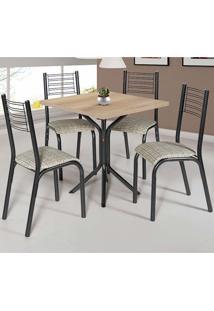 Conjunto De Mesa Com 4 Cadeiras - Camila - Ciplafe - Junco Manteiga