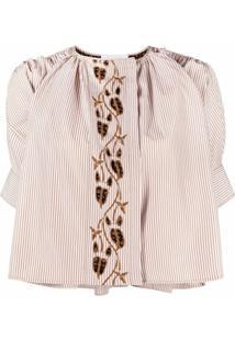 Chloé Blusa Com Listras E Bordado Floral - Branco