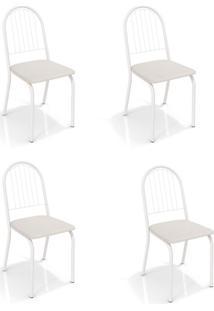 Conjunto Com 4 Cadeiras De Cozinha Noruega Branco