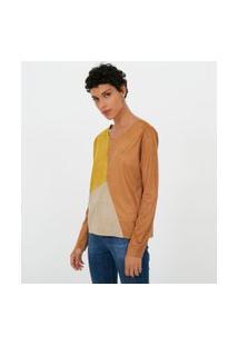 Blusa Em Suede Com Recortes Tricolor | Marfinno | Marrom | P