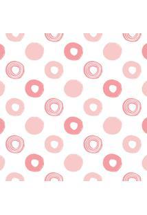 Papel De Parede Adesivo Bolinhas Em Rosa 2,70X0,57M