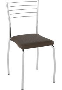 Kit C/ 2 Cadeiras Assento Courissímo Metalizado Café Pozza