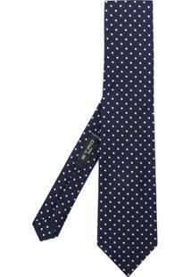 Etro Gravata De Seda Com Bordado De Poás - Azul