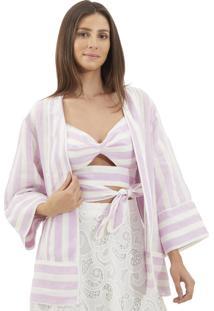 Kimono Le Lis Blanc Marcela Stripe Linho Listrado Feminino (Stripe To Be Defined, Gg)