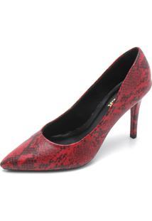 Scarpin Amber Cobra Vermelho - Vermelho - Feminino - Dafiti