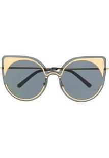 Linda Farrow Gallery Óculos De Sol Gatinho Com Contraste - Preto