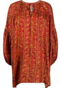Uma Wang Floral-Print Mini Dress - Vermelho