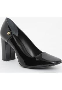 Sapato Em Couro Com Aviamento - Preto- Salto: 8Cmjorge Bischoff