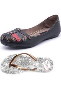 Kit Sapatilha E Chinelo Top Franca Shoes Preto
