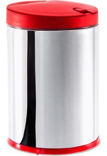 Lixeira Press Com Tampa- Inox & Vermelho Escuro- 27Xbrinox