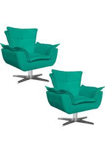 Kit 02 Poltronas Decorativas Gran Opala Base Estrela Em Aã§O Cromado Suede Verde - D'Rossi - Verde - Dafiti
