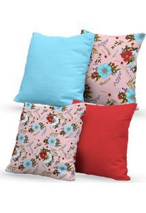 Kit 4 Capas Almofadas Decorativas Own Floral Vermelho E Azul 45X45 - Somente Capa