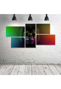 Quadro Decorativo - Cg-Digital-Art-Psychedelic-Face-Skull - Composto De 5 Quadros - Multicolorido - Dafiti