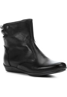 Bota Couro Cano Curto Shoestock Travel Feminina - Feminino-Preto