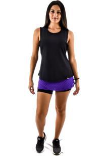 Regata Rich Young Fitness Preta Shorts Saia Fitness Roxo Com Preto