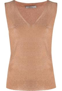 D.Exterior Metallic Knitted Tank Top - Marrom