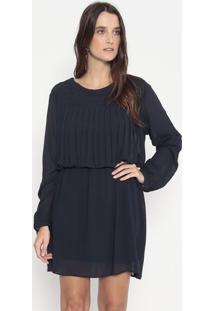 Vestido Texturizado Com Pregas - Azul Marinho - Elluellus