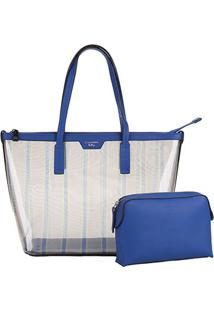 Bolsa Carmim Shopper Vinil Fabiana Feminina - Feminino-Azul