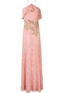 Lethicia Bronstein Vestido Longo Em Renda Com Bordado - Rosa