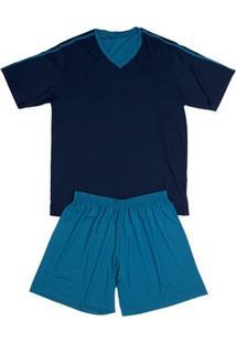 Conj. Pijama Modal Curto Azul Petróleo G