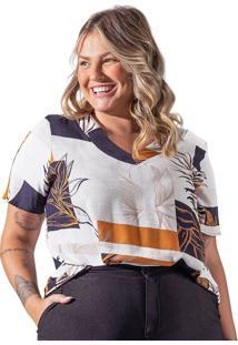 Blusa Feminina Plus Size Rovitex Secret Glam Tropical Off White/Preto - G2