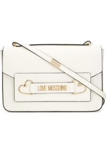 Love Moschino Bolsa Tote Com Placa De Logo - Branco