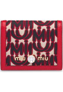 Miu Miu Carteira Com Mix De Materiais - Vermelho