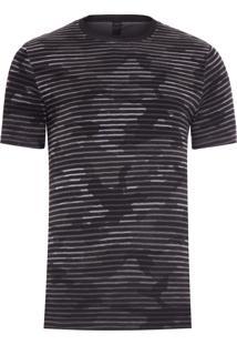 Camiseta Masculina Manga Curta Camuflada - Cinza E Preto