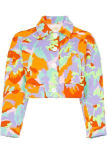 Cap Jaqueta Celeste Cropped Jacquard - Camo Flower Neon