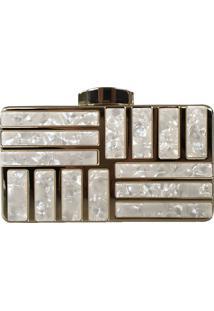 Bolsa Bag Dreams Clutch Em Madrepérola Melany Dourada
