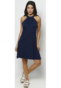 Vestido Liso Com Amarração- Azul Marinho- Maria Padimaria Padilha