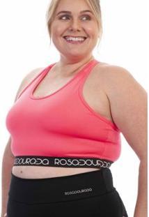Top Plus Size Rosa Dourada Costas Nadador - Feminino-Pink