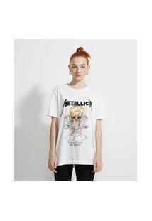 Blusa Alongada Em Algodão Com Mangas Curtas Estampa Metallica