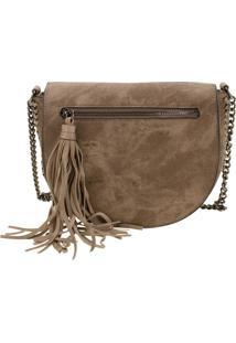 Bolsa Feminina Transversal Arara Dourada - H406 Taupe