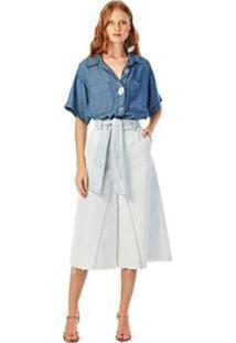 Calça Iódice Wide Cós Alto Com Faixa Jeans Feminina - Feminino