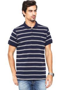 Camisa Polo Richards Listrada Azul